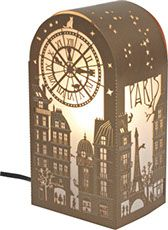 Laser cut souvenir lamp kit. Paris clock. Electrical system and LED optional