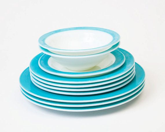 WANT!!!!!    Vintage Pyrex Turquoise and White Dish Set by TheVintageRhino, $40.00