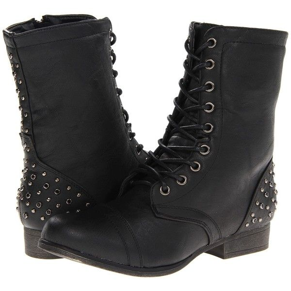 Madden Girl Gallyyy Women's Dress Boots ($30) ❤ liked on Polyvore featuring shoes, boots, ankle boots, black, ankle combat boots, black lace-up boots, black studded boots, studded ankle boots and low heel ankle boots