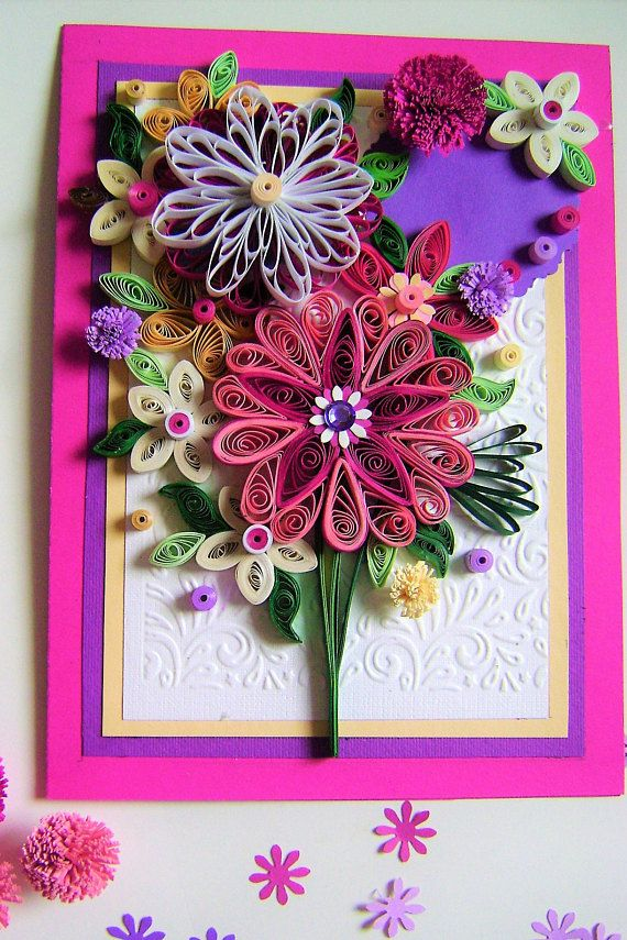 Quilling Greeting card in a box. Perfect greeting card for various occasions like Mothers Day, Birthday, Congratulations or a simple . Size: 210 mm ˣ 150 mm Designed to sit vertically. The card is packaged carefully to ensure a safe delivery. I ship the quilling cards with tracking