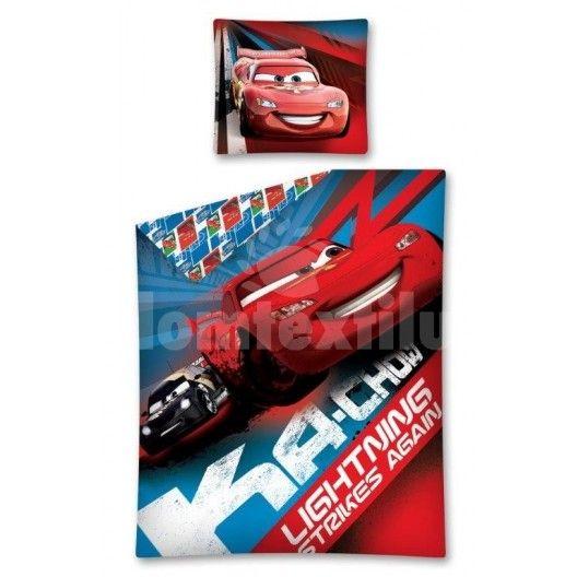 Červeno modré obliečky pre deti s motívom autá