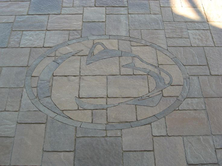 Penn State Nittany Lion (Paver Art) done in Techo Bloc Mista pavers in Harvest Gold & Mojave Beige colors