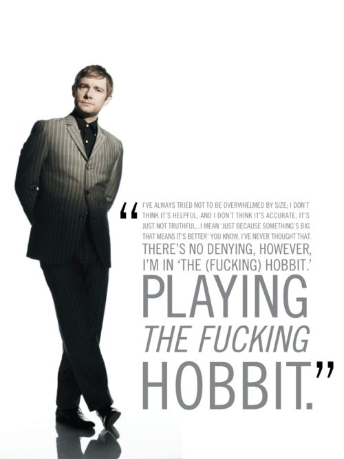"""unexpectedbaggins:  """"Martin Freeman seems a little happy here  """"  I think, when all is said and done, this is one of my favorite quotes of his."""