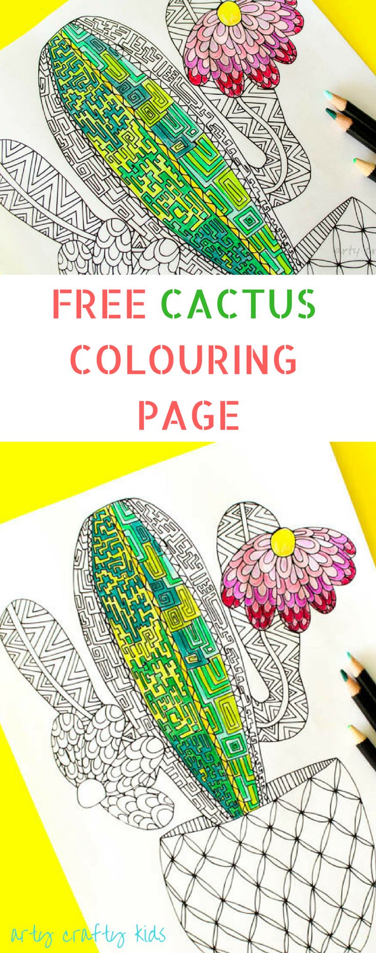 The zoology coloring book - Arty Crafty Kids Coloring Pages Cactus Coloring Page A Free Cactus Coloring Page
