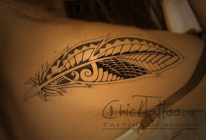 Polynesian feather tattoo