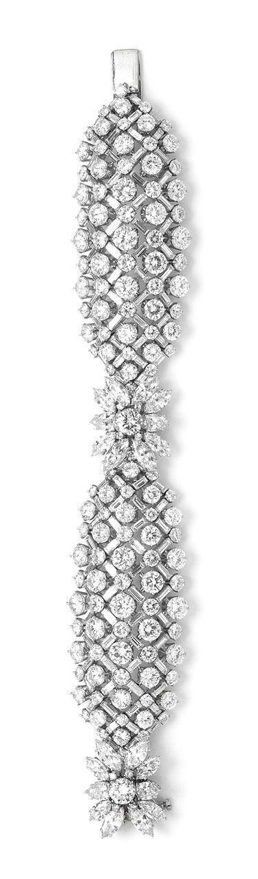 Harry Winston vintage 1959 diamond lattice bracelet, set with diamonds of 58.07ct, as worn by Charlize Theron at the 2013 Oscars.