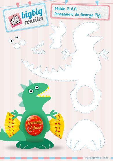 BigBig Invitaciones PersonalizadosMolde EVA Pig Jorge y el dinosaurio - BigBig invitaciones personales