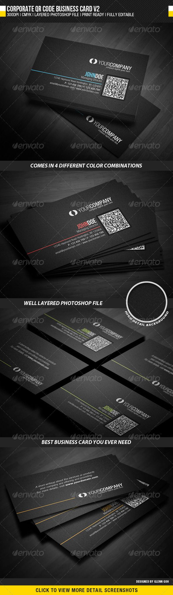117 best business cards psd with qr code images on pinterest corporate qr code business card v2 reheart Images