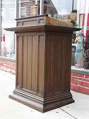 Antique oak gothic altar church pulpit podium lectern