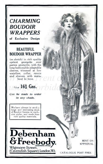 An 1926 advertisement from Debenham & Freebody for their 'Charming Boudoir Wrappers'.       [Covent Garden official souvenir 1926]