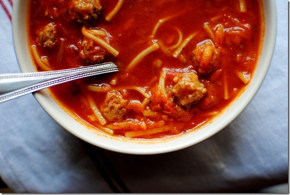 Spaghetti and Meatball Soup | Soups and Salads and Sanwiches | Pinter ...