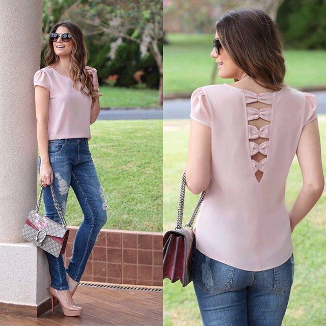 WEBSTA @ doceflorsp - {Summer17} A @arianecanovas linda com jeans   blusa com detalhe de laços nas costas! #trend #summer17 #newin #novidades #arianecanovas #bomretiro #atacado #euamodoceflor #doceflorsp