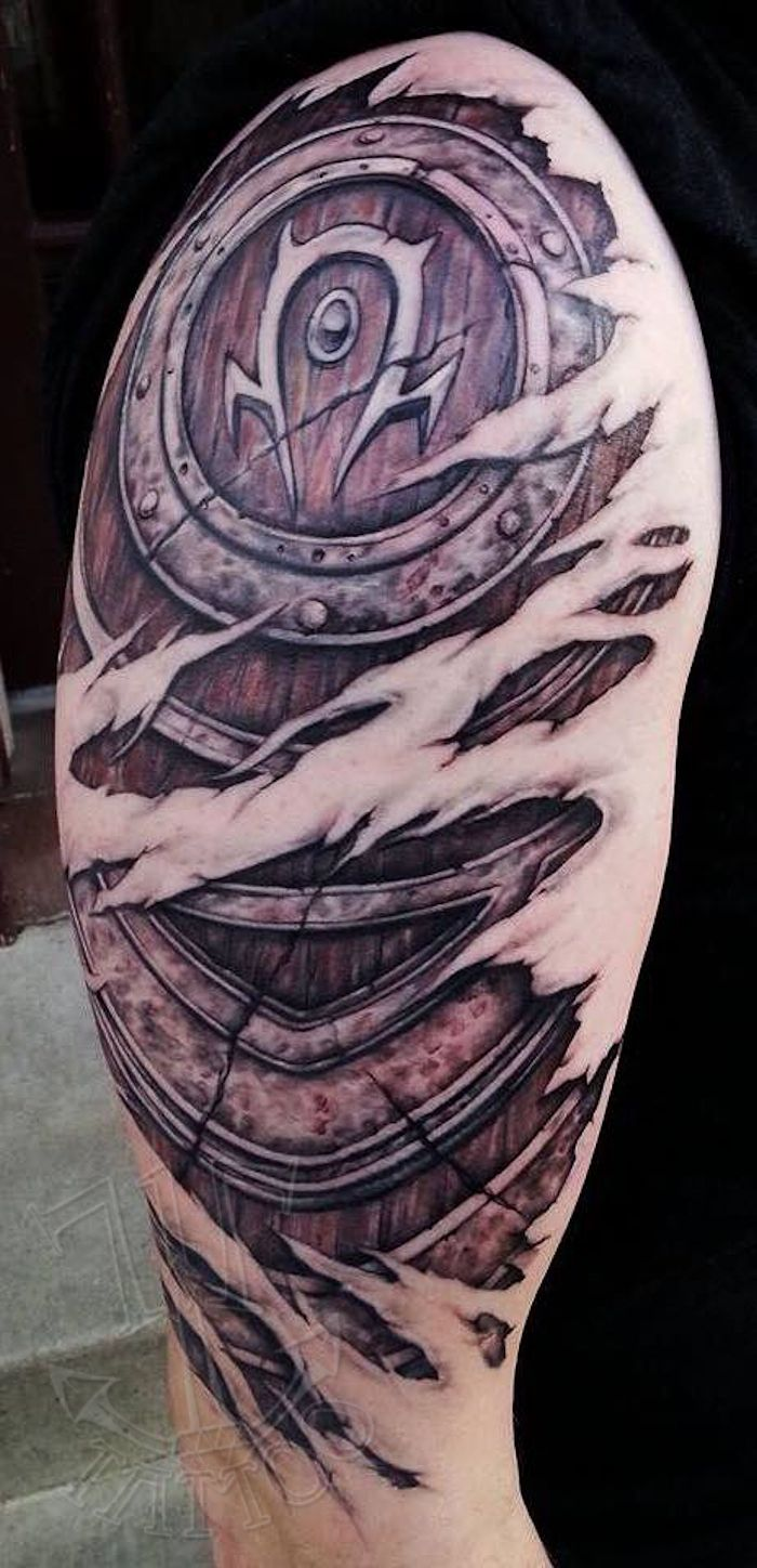 W.O.W tattoo by Jackie at 717 Tattoo in Columbia, Pa. For the Horde!