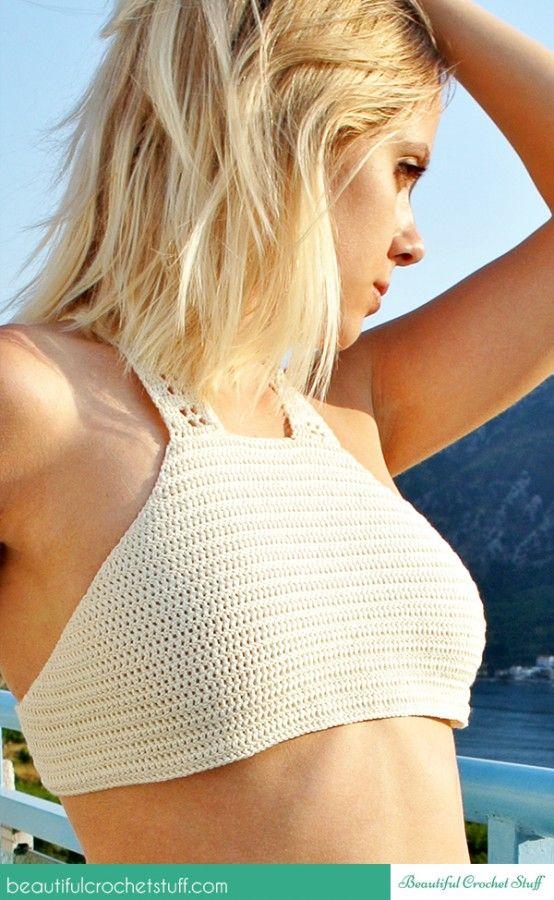 Crop top halter free #crochet pattern @crochet_stuff