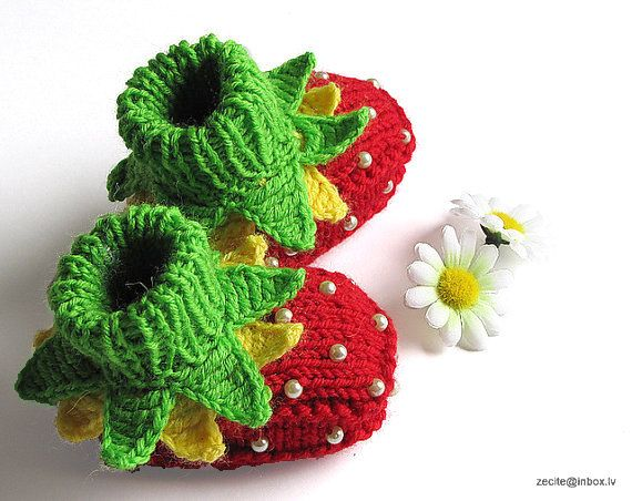 "Knitted Baby booties  ""Strawberry  Fairy"", hand knit baby girls shoes ,strawberry baby booties /3-6M. $20.00, via Etsy."