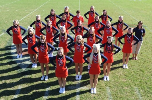 cheer team pictures | University of the Cumberlands - 2012-13 Cheerleading Roster...not this pose but the idea of high up looking down with the team in different positions with the diamond in view