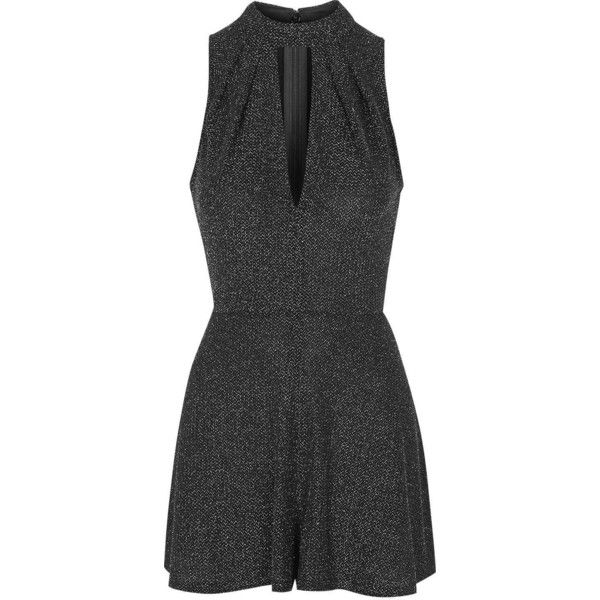 TOPSHOP TALL Plunge Front Playsuit ($54) ❤ liked on Polyvore featuring jumpsuits, rompers, silver, plunge romper, topshop, tall romper, fancy rompers and dressy rompers