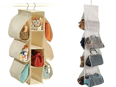 Na foto (zleva): praktický organizér na kabelky s deseti kapsami, vyrobeno z pevného textilu v několika barevných provedeních, cena přibližně 150 Kč, závěsný pořadač na kabelky do skříně z průhledného materiálu pro lepší přehled, cena 100 Kč; ICY DEALS, MILES KIMBALL