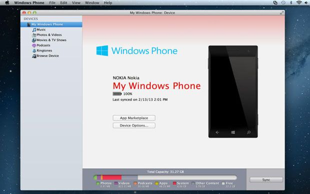 Nokia Lumia Windows Phone per Mac sincronizzare Musica, Foto, Video, Film