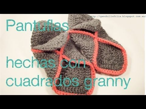 Pantuflas hechas con granny - YouTube