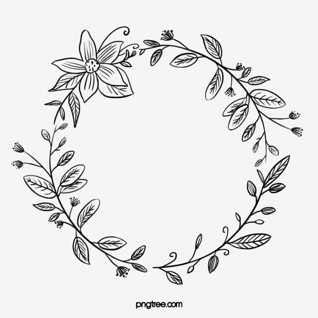 Black Hand Drawn Line Side Wedding Decoration With Surrounded Round Flower Plant Green Leaves Border Wedding Decorations Wedding Ceremony Marry Png Transpare Vine Drawing How To Draw Hands Flower Border Clipart
