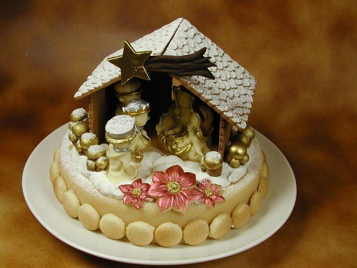 Torta con Presepe di cioccolato realizzata con stampi in silicone alimentare www.decosil.it