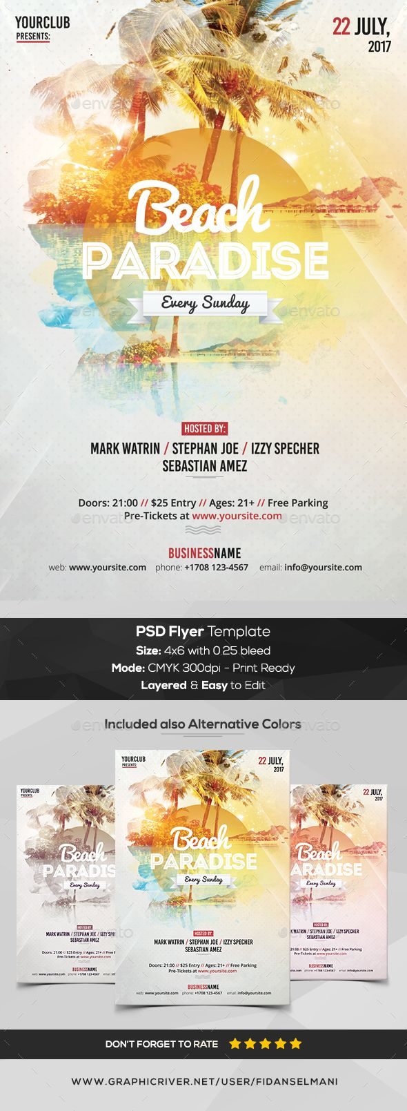 Beach Paradise - PSD #Flyer Template - Flyers Print Templates Download here:  https://graphicriver.net/item/beach-paradise-psd-flyer-template/20365316?ref=alena994