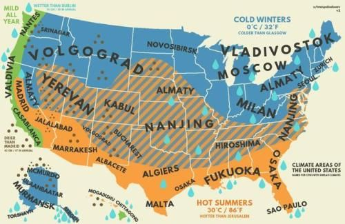 US climate with equivalent cities from around the world. [[MORE]]by on