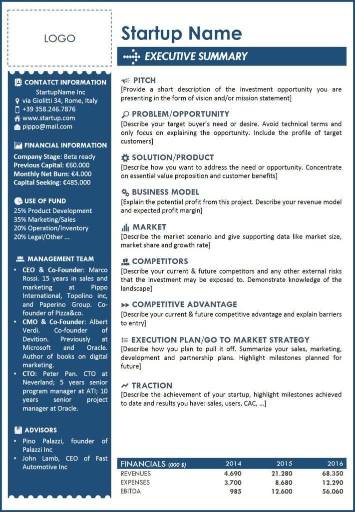 Executive Summary Template 2 Executive Summary Template One Page Business Plan Executive Summary