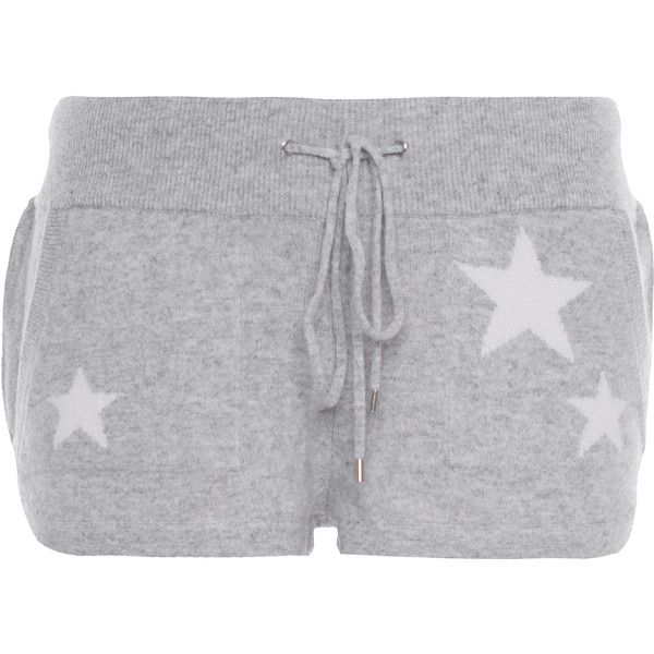Rosa von Schmaus Cash Short Stars Heather Grey // Fine knit cashmere... ($110) ❤ liked on Polyvore featuring shorts, bottoms, sleepwear, pajamas, low rise shorts, drawstring shorts, fitted shorts, low rise short shorts and star shorts