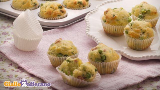 muffin salati proscitto e piselli