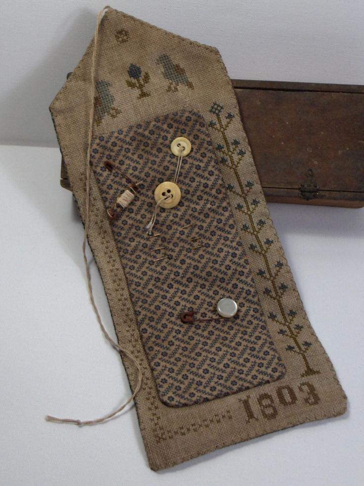 Primitive Cross Stitch 1803 Blue Sewing Roll. $65,00, via ...