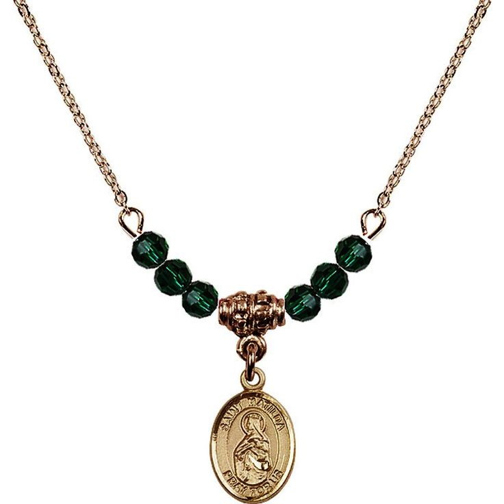 18-Inch Hamilton Gold Plated Necklace with 4mm Green May Birth Month Stone Beads and Saint Matilda Charm. 18-Inch Hamilton Gold Plated Necklace with 4mm Emerald Birthstone Beads and Saint Matilda Charm. Green represents Emerald, the Birthstone for May. Hand-Made in Rhode Island. Lifetime guarantee against tarnish and damage. Hamilton gold is a special alloy designed to have a rich and deep gold color.