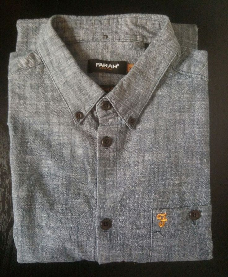 Farah Slim Fit Chambray Denim Look Button Front Shirt Size S NWOT