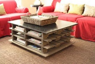 Old pallets into a coffee table with storage