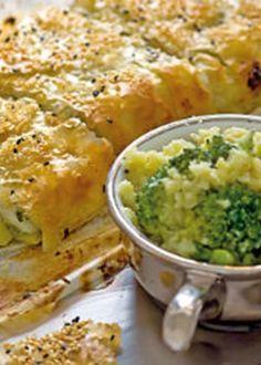 Strudel de bacalhau com esmagada de batata doce e brócolos