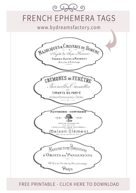 Old French ads turned into French Ephemera Tags - 4 images that can use with or without the borders. Majoliques & Cristaux de Boheme / Cremones de Fenetre / Patisserie Confiserie / Manufacture Parisienne: