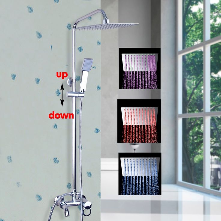 Luxury LED NEW Polish Chrome  Rainfall Shower Set Faucet + Tub Mixer Tap + Handheld Shower Wall Mounted 54105-11