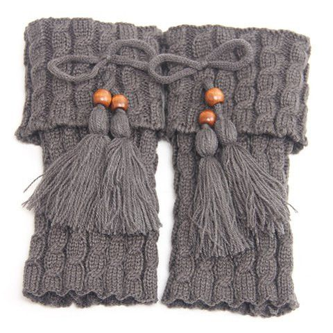 Stylish Bow and Tassel Pendant Embellished Knitted Boot Cuffs For Women. Available in: Gray, Brown & Black