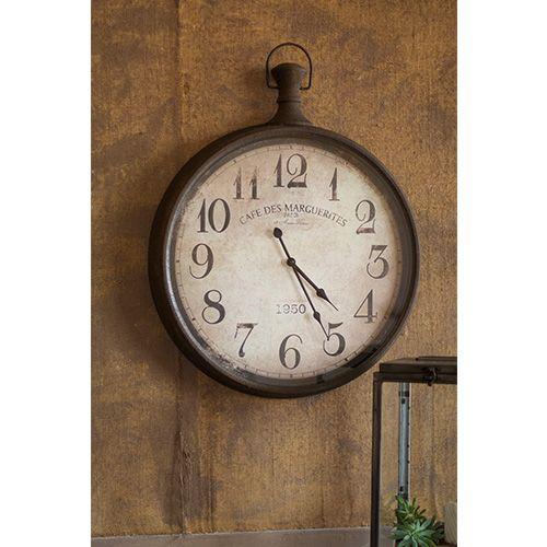 rustic metal pocket watch wall clock kalalou wall mounted clock clocks home decor