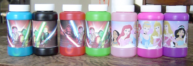 My kids birthday themes are Star Wars & Princesses. I wanted bubble party favors. These were $.49 at Party City. Then I found pictures online to print, cut & tape on. They look even better than the picture shows. Inexpensive party favors!  *Next time I will laminate the pictures on both sides with packing tape before putting them on the bottles.  That will keep the picture from getting ruined when bubbles run down the bottle.
