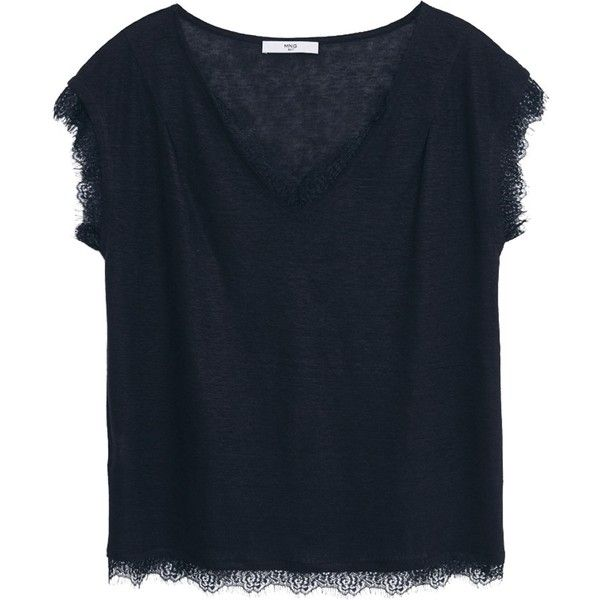 Mango Lace Applique Linen T-Shirt, Black ($43) ❤ liked on Polyvore featuring tops, t-shirts, tees, v neck t shirts, black t shirt, black short sleeve t shirt, short sleeve v neck t shirt and short sleeve tees