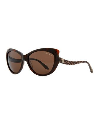 Pointed-Temple Sunglasses, Red by Roberto Cavalli at Neiman Marcus.