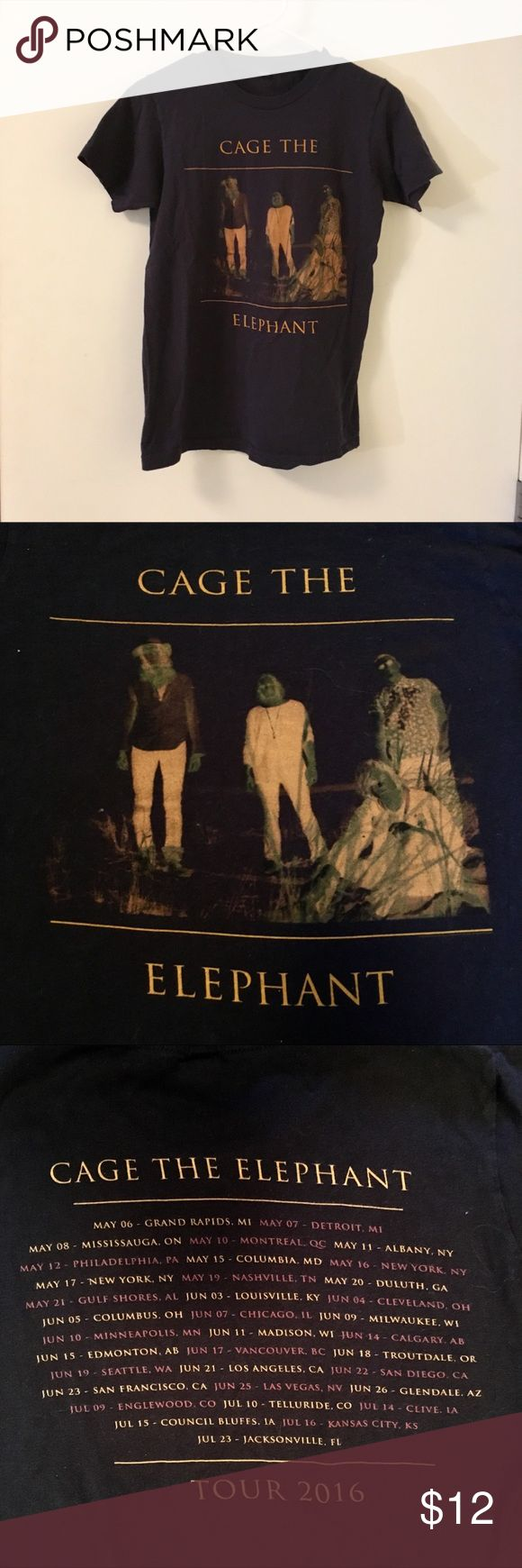 Cage The Elephant Concert Tee Navy blue Cage the Elephant t-shirt! Exclusive from 2016 tour Tops Tees - Short Sleeve