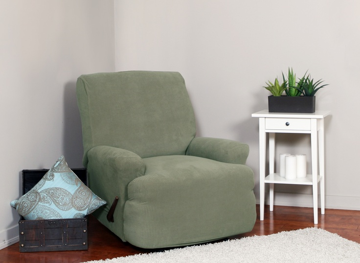 Montgomery II Sage Recliner Slipcover. Deeply embossed box pattern with a soft luscious surface. form fitting upholstery. Rrenovation, beautiful interior design, chic home decor.