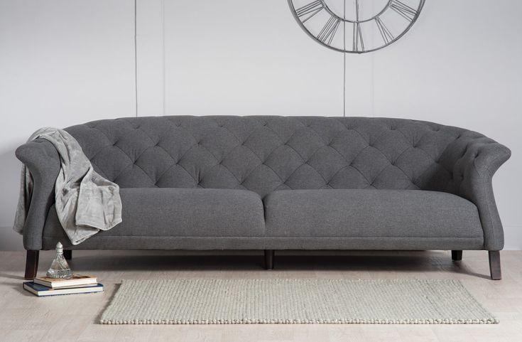 Elegant Shaped Chesterfield Style Sofa - Allissias Attic