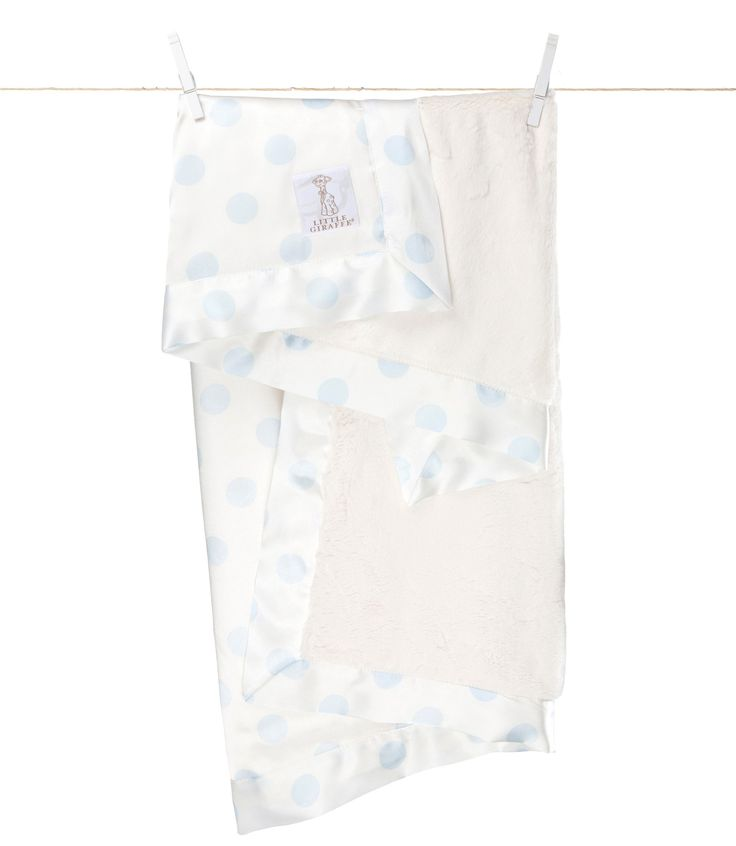 Little Giraffe - Luxe Cream Dot Baby Blanket - Blue CANADA Free Shipping at RockprettyBaby.ca
