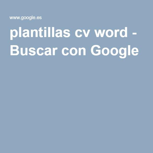 plantillas cv word - Buscar con Google