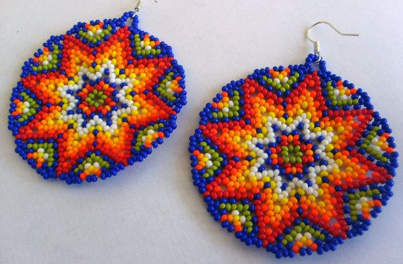 Mexican Huichol Beaded earrings   #mexican #huichol