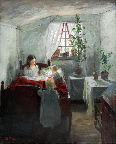 Morning, interior from a fisherman house, 1890, Frits Thaulow. Norwegian Impressionist Painter (1847 - 1906)